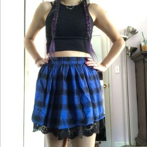Forever 21 Plaid and Lace Skirt